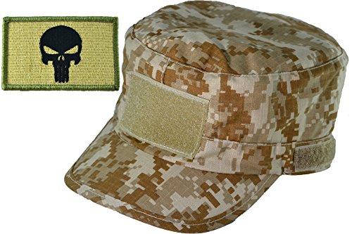 Ripstop Us Fatigue Cap (Digital Desert Camo Adjustable Fatigue Cap with Skull Patch - Multitan (FCAP-DSRT-WPUN-MULT))