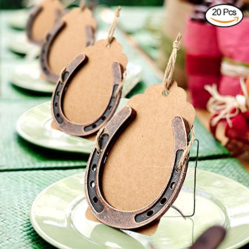 WmBetter 20Pcs Lucky Horseshoe Wedding Favors with Kraft Tags and Hemp Ropes for Christmas Wedding Ornaments and Rustic Farm Wedding Decoration