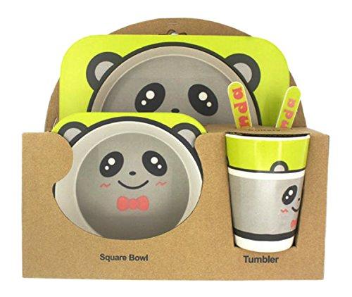 HappyGo vajilla infantil de juego de 5de bambú verde que contiene cuencos, platos, tenedores, cucharas, vasos, Panda