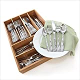 oneida stainless flatware tuscany - Oneida Tuscany 45-Pc Set, Service for 8 with Bamboo Storage Caddy
