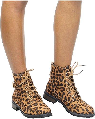 Bootie / Stivali Da Combattimento Moda Militare Di Bambù Da Donna Leopard_b23