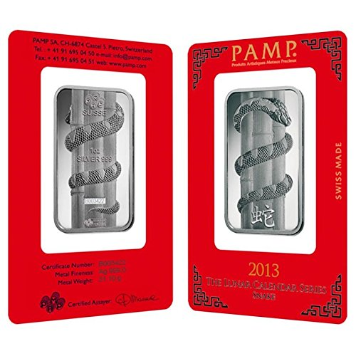 1 oz PAMP Suisse Year of the Snake Silver Bar (In Assay) (Pillar Silver Wrapped)