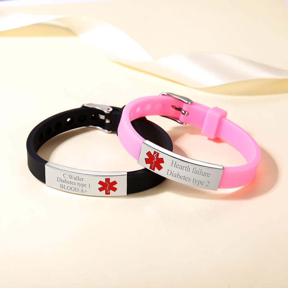 Custom4U Personalizados Pulseras de Acero Inoxidable con Alerta M/édica para Emergencia SOS Joyer/ía de Identidad para Hombres y Mujeres Cruz Roja