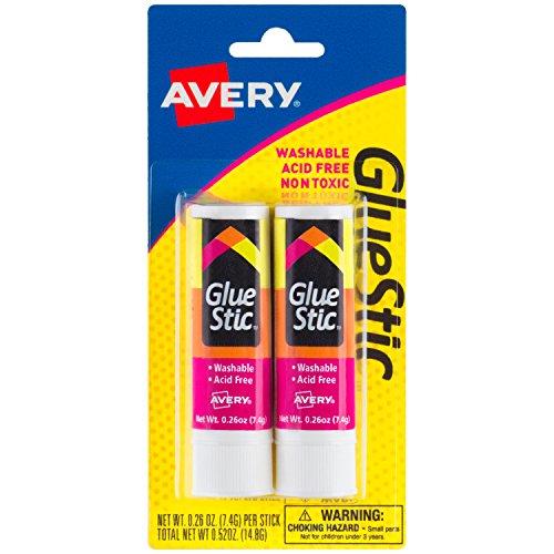 Avery Glue Stic, Washable, Nontoxic, Permanent Adhesive, 0.26 oz., Pack of 2 (00171)