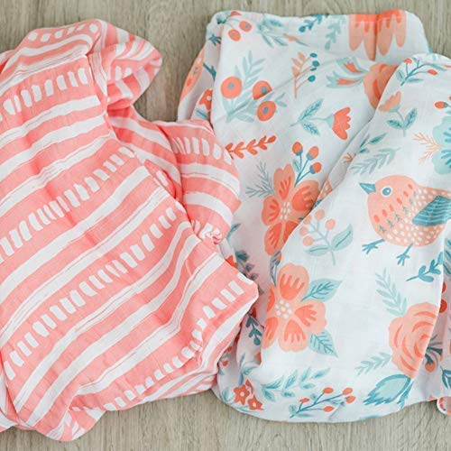 Muslin Swaddle 2 Pack Softest Floral Swaddle Blanket by Graced Soft Luxuries (Sunrise Bloom)