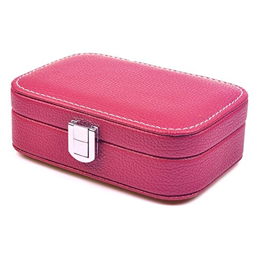 KLOUD City Jewelry Box Organizer Display Storage Case for Travel Home Use, Hot Pink