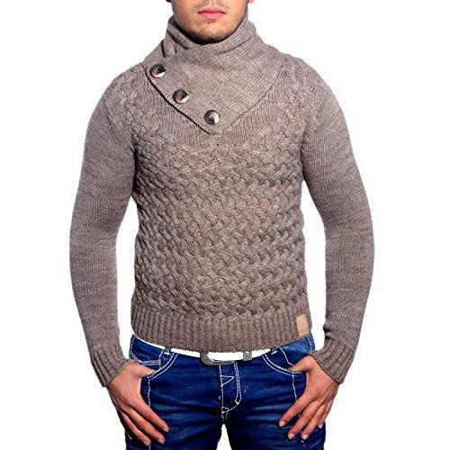 R-Neal 3158 Herren Pullover Grobstrick Schalkragen Pulli Sweatshirt Jacke Hoodie, Größe:XL, Farbe:Beige