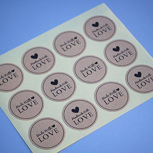 Round Kraft Sticker 'Handmade With Love' x 36 - Rustic Vintage Style