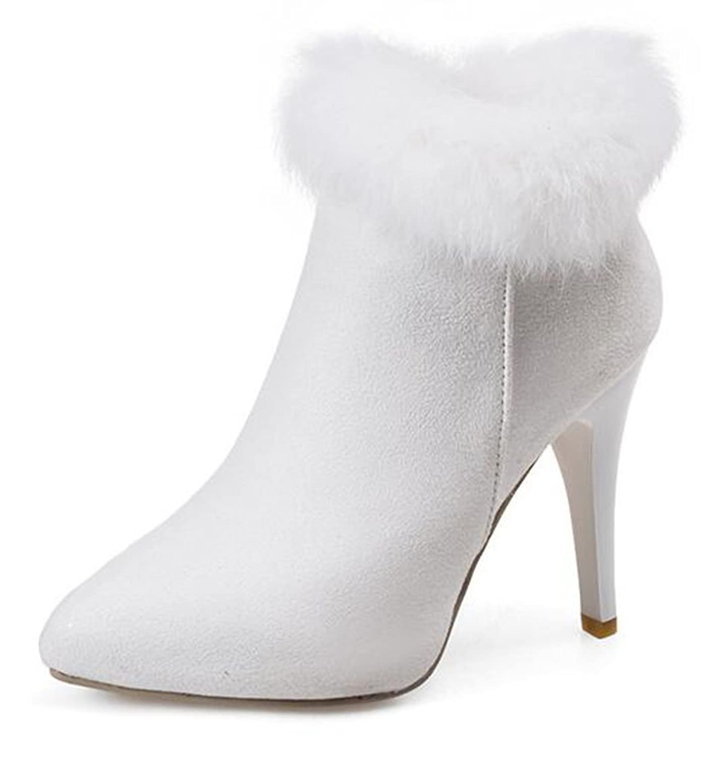 Women's Elegant Stiletto Waterproof Suede Fully Fur Lined Pointed Toe Zipper High Heel Ankle Winter Boots