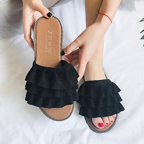 por Chanclas 2018 Mujeres Suave Zapatillas Pisos Casa Estar Zapatos Suave Sandalias WINWINTOM de Bordado Ponerse Zapatos Fondo y Mujer Barco Negro Suave Verano Casual fwfcqrIv
