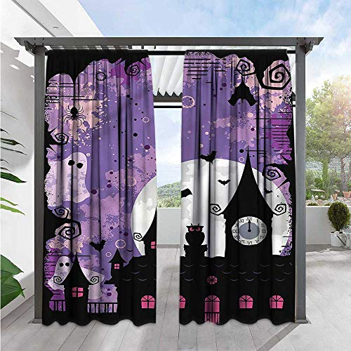 Marilds Vintage Halloween Simple Curtain Towers and Bats Simple Stylish 96