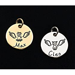 Personalized Pet Memorial Charm • Custom Angel Dog / Cat Remembrance • Name / Date • For Necklace or Bracelet • Sympathy Gift • 14k Gold or Sterling Silver