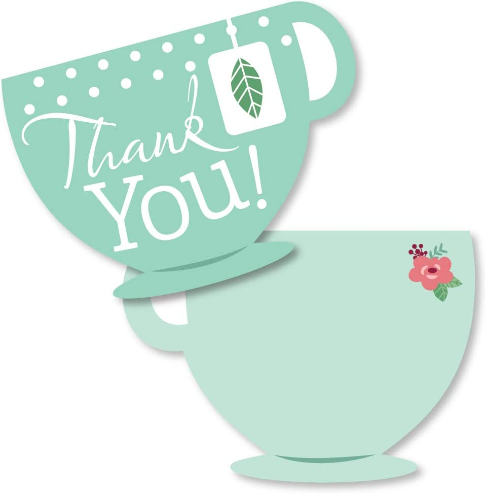 Big Dot of Happiness Floral Let's Par-Tea - Shaped Thank You Cards - Garden Tea Party Thank You Note Cards with Envelopes - Set of 12