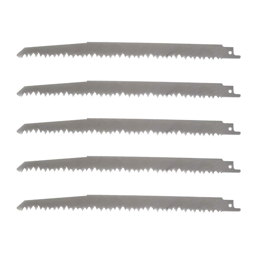"9"" Stainless Steel Reciprocating Saw Blades for Food Cutting - 5TPI Big Teeth Stainless Steel Sawzall Blades Multi Cutting for Frozen Meat, Beef, Turkey, Bone, Wood, Pruning (5 Pack)"