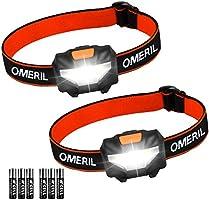 OMERIL Stirnlampe Kopflampe Stirnlampe LED [2 Stück] Superhell Wasserdicht Leichtgewichts Mini Stirnlampen fürs Laufen,...