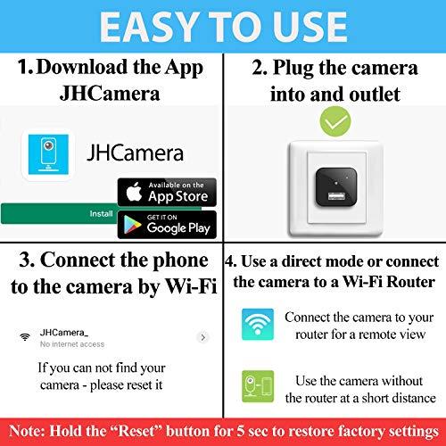 Spy Camera Wireless Hidden WiFi Camera with Remote View - HD 1080P - Spy Camera Charger - Spy Camera Wireless - USB Hidden Camera - Nanny Camera - Premium Security Camera - Hidden Cam - iOS Android