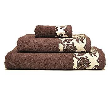 Juego de 3 toallas de rizo JACQUARD diseño cenefa 100% algodón alta calidad (Marrón): Amazon.es: Hogar