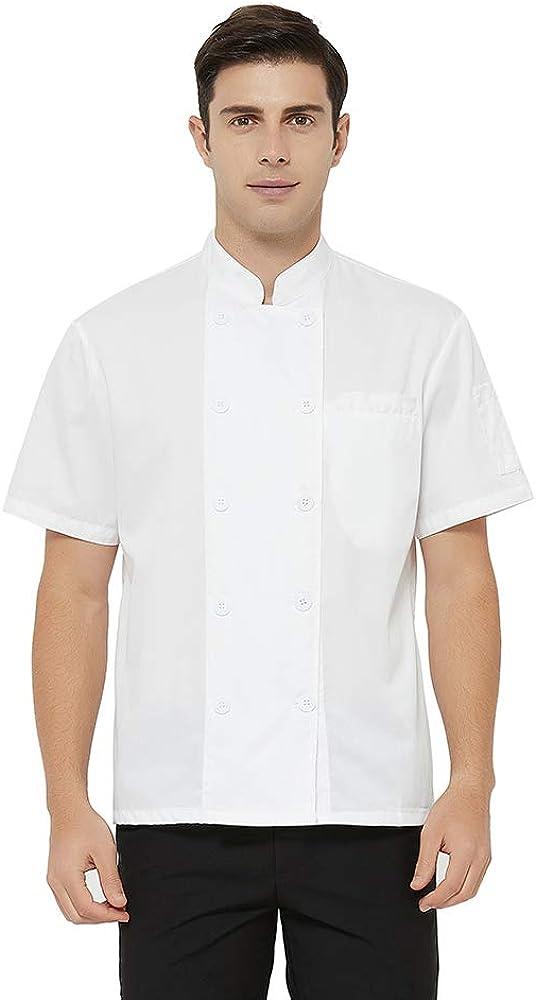 TOPTIE Short Sleeve Chef Coat Jacket Lightweight Button Chef Uniform