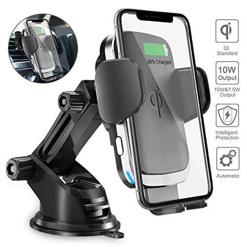 Wireless Car Charger Holder, Acokki 10W/7.5W Qi Fast Charging Auto-Clamping Car Phone Holder, Windshield Dashboard Air Vent Car Mount Compatible with iPhone Samsung Nexus HTC Sony Huawei (Silver)