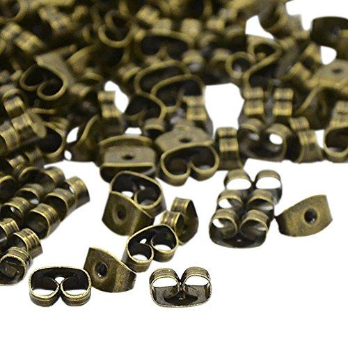 NBEADS 5000Pcs Iron Earnuts Earrings Backs, Nickel Free, Antique Bronze, about 6mm long, 4mm wide, 3mm high, hole: 0.7~1.0mm