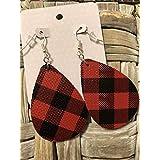 Leather Earrings - Bohemian Drop faux leather, Buffalo Plaid black/red checks