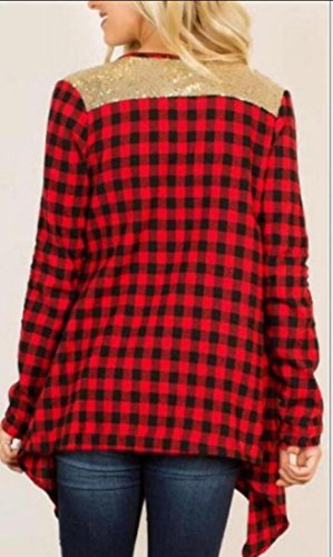 amp;W Front M Women's amp;S Plaid Wine Print Open Red Slim Cardigan Jackets 0ZU5Zpn