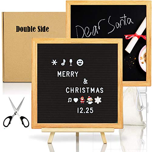 Reversible Double Sided Chalkboard (Double Sided Felt Letter Board with Chalkboard -10x10 Black Changeable Message Sign with Oak Frame Stand, 378 Letter Number Emojis, Christmas Gifts Photo Prop Board Sign, New Year party announcement)