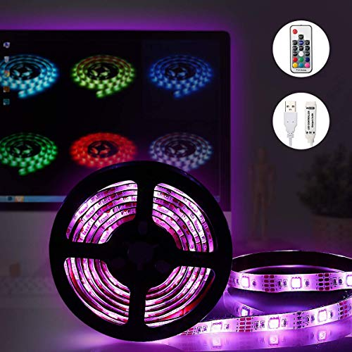LED Strip Lights,GLIME TV Backlight Kit Colorful Light Bar Remote Control Lighting Kit 5050 RGB Backlight Strip Bedroom Bar Club Home Kitchen Party Decorate Lamp 200cm Flexible Waterproof Ribbon Light