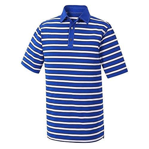 FootJoy Athletic FIT Stretch Lisle Multi-Stripe Self Collar Golf Polo 2016 Royal/White/Black Large