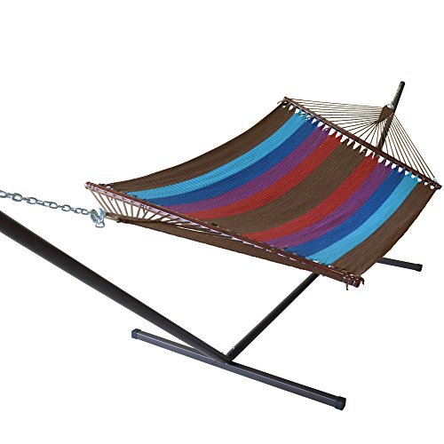 Jumbo Caribbean Hammock and Metal Tribeam Stand (multi color light blue) by Caribbean Hammocks