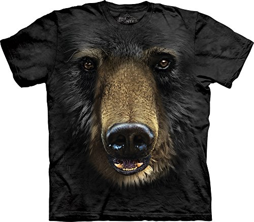 The Mountain Black Bear Face Adult T-Shirt, Black, XL Black Bear Print T-shirt