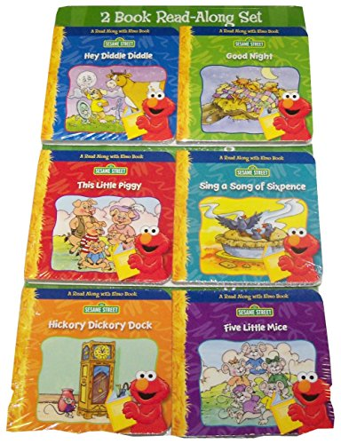 Sesame Street 6 Book Read-along Set ~ Hey Diddle, Good Night, This Little Piggy, Song of Sixpence, Hickory Dickory, Five Little Mice