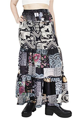 - Lofbaz Women's Long Bohemian Maxi Skirt Hippie Gypsy Boho Dress - Patchwork Black - OS