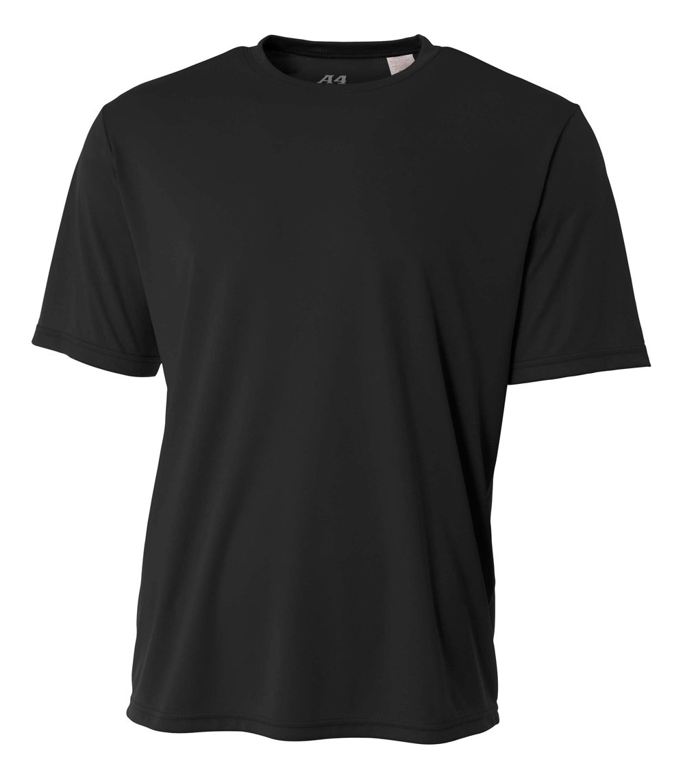 A4 Men's Cooling Performance Crew Short Sleeve T-Shirt, Black, Small