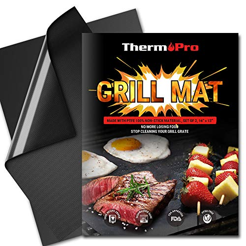 ThermoPro TP932 Grill BBQ Mat Non-Stick Reusable Heavy-Duty Oven Baking Mat Pad, Easy to Clean Barbecue Grilling Accessories- Set of 2 -