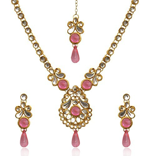 Dancing Girl Women's Ethnic India Kundan Polki Stone Necklace Set With Maang Tikka Pink