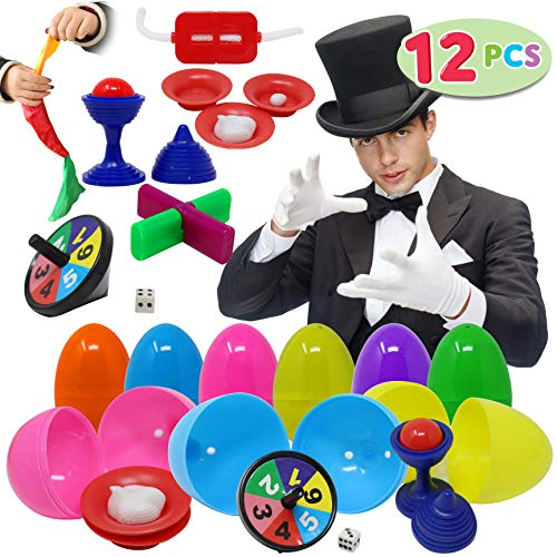 JOYIN 12 PCs Prefilled Easter Eggs with Classic Magic Tricks for Kids Basket Stuffers, Easter Decorations, Easter Egg Hunt Game, Easter Décor Toy, Magic Show, Easter Stuffers Gifts and Party Favors
