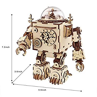ROKR 3D Assembly Puzzle DIY Wooden Music Box,Building Craft Kits,Wooden Robot Toy Figure for Kids,Brain Teaser Educational Gifts for Girls Boys Adults When Christmas Birthday Valentine's Day: Toys & Games