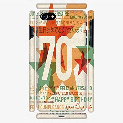 (Phone Case Compatible with 3D Printed iPhone 7/iPhone 8 DIY Fashion Picture,Global Birthday Congrats with Abstract Stars,Personalized Designed Hard Plastic Cell Phone Back Cover Shell Protective)