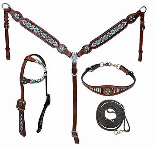 (Showman 4 Piece Beaded Navajo Design Headstall, Breast Collar, Wither Strap and Contest Reins Set)