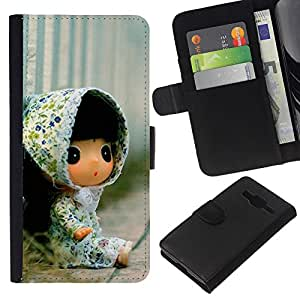 Planetar® Modelo colorido cuero carpeta tirón caso cubierta piel Holster Funda protección Para Samsung Galaxy Core Prime / SM-G360 ( Cute Toy Girl )