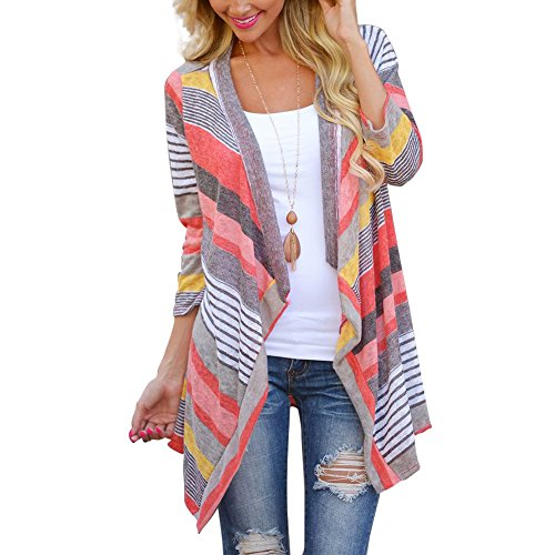 Womens Boho Knit Cardigan Shawl Floral Irregular Stripe Casual Poncho Tunic Tops Coat Cover Up Blouse Red