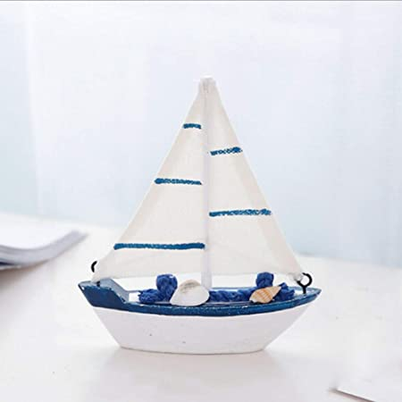 BOHISEN Wooden Sailboat Model,Retro Wooden Mediterranean