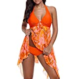 iZHH Women Print Swimwear Tankini Asymmetric Hem Halter Swimdress Beachwear(Orange,14)