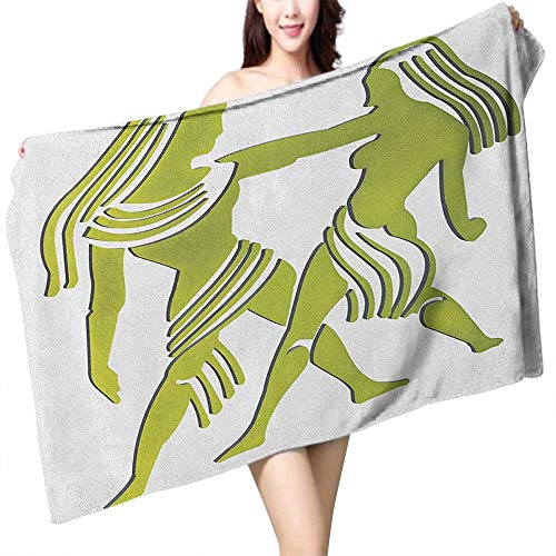 (homecoco Soft Bath Towel Zodiac Gemini Dimensional Representation of Zodiac Twins Holding Each Other in Green W10 xL39 Suitable for bathrooms, Beaches,)