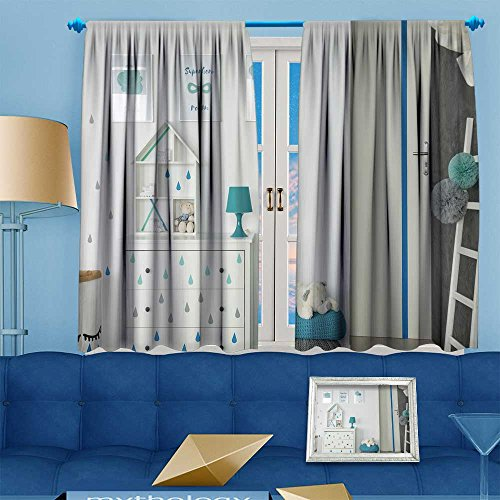VROSELV Twigs Fashion Design Print Thermal Insulated Blackout Curtain white baby bedroom with dresser pouf and wposters with Tops for Bedroom 55