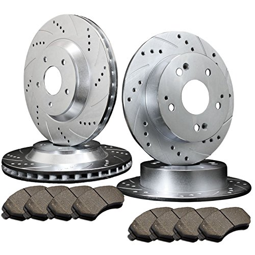 Full Kit 4pcs Cross-Drilled Slotted Brake Rotors Disc and 8pcs Ceramic Pads(Front & Rear) Fit for Jeep
