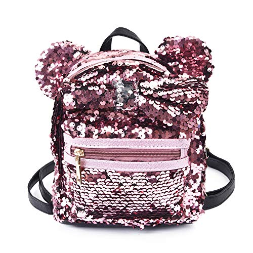 Women Girl's Sequin Backpack Cute Mini Fashion Backpack Ears Bowknot Shoulder School -