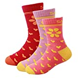 AGOWOO Merino Wool Sports Socks for Kid, Calf High, Girl, Running, 3 Pairs
