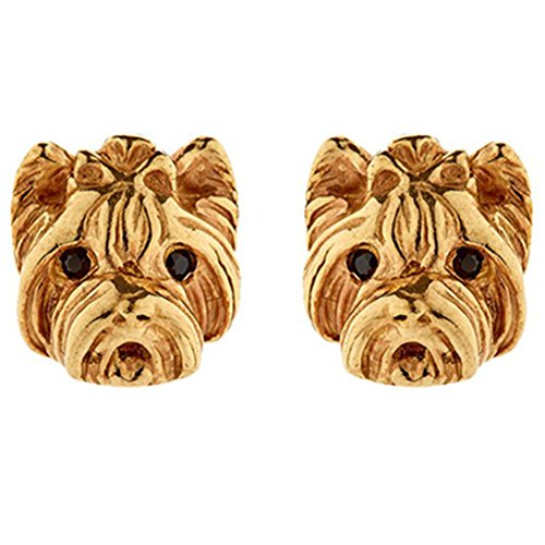 18k Gold & 925 Silver Plated Yorkshire Dog Charm Women Stud Earring,2 color (Gold) -